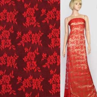 Мереживне полотно стрейч дрібні трояндочки червоне, ш.145 оптом