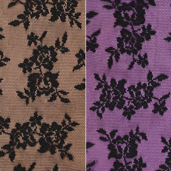 Кружевное полотно стрейч мелкие розочки черное, ш.150 оптом