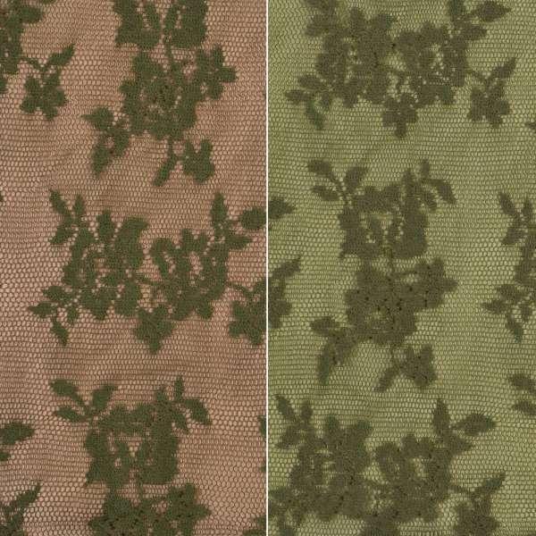 Кружевное полотно стрейч мелкие розочки оливковое темное, ш.145 оптом