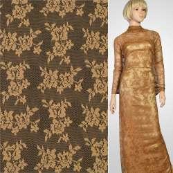 Кружевное полотно стрейч мелкие розочки коричневое, ш.150