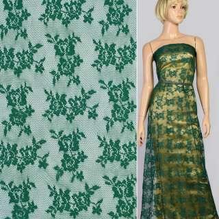 Кружевное полотно стрейч мелкие розочки зеленое темное, ш.145 оптом