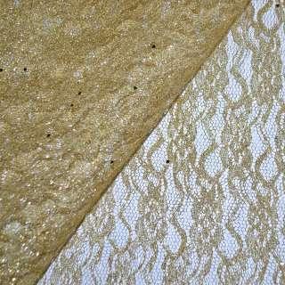 Гипюр золотистый со штампом и блестками (жесткий) ш.158 оптом