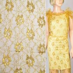 Гипюр золотистый с золотым люрексом цветы