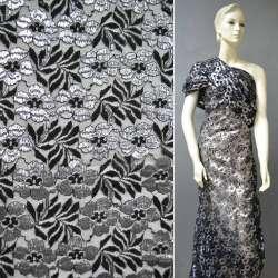 Гипюр черный с цветами с серебрянной метанитью ш.150
