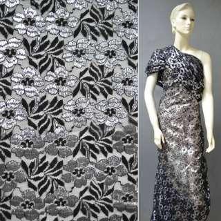 Гипюр черный с цветами с серебрянной метанитью ш.150 оптом