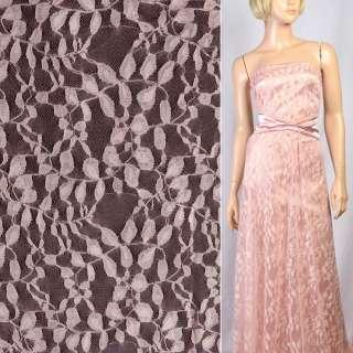 Гипюр розовый с бежевыми листьями ш.150 оптом