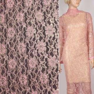 Гипюр розовый с золотым люрексом ш.150 оптом