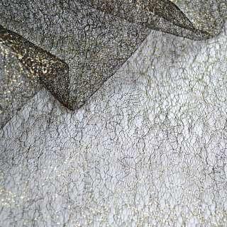 Гипюр-паутинка черный с золотистым люрексом, ш.150 оптом
