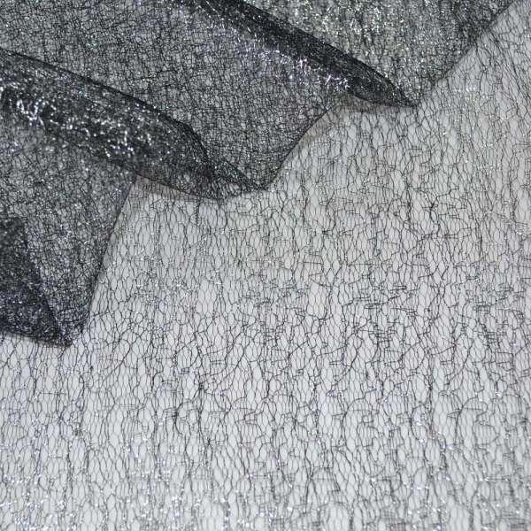Гипюр-паутинка черный с серебряным люрексом ш.150 оптом