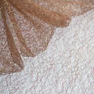 Гипюр-паутинка коричнево-розовая с серебряным люрексом ш.160 оптом