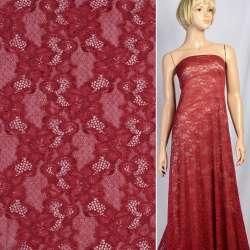 Кружевное полотно стрейч вьющиеся цветы бордовое, ш.150