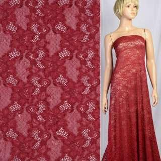 Кружевное полотно стрейч вьющиеся цветы бордовое, ш.150 оптом