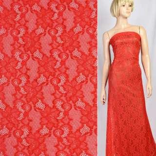 Кружевное полотно стрейч вьющиеся цветы красное, ш.150 оптом
