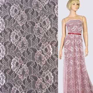 Кружевное полотно стрейч цветы на сетке розовое, ш.150 оптом