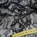 Кружевное полотно стрейч цветы на сетке черное, ш.155 оптом