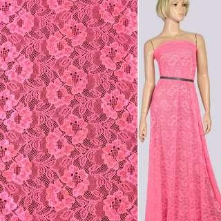 Кружевное полотно стрейч цветы на сетке розовое неон, ш.155 оптом