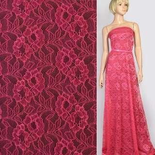 Кружевное полотно стрейч цветы на сетке розовое фуксия, ш.145 оптом