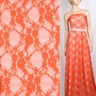 Гипюр стрейч оранжевый с вьющимися цветами ш.150 оптом