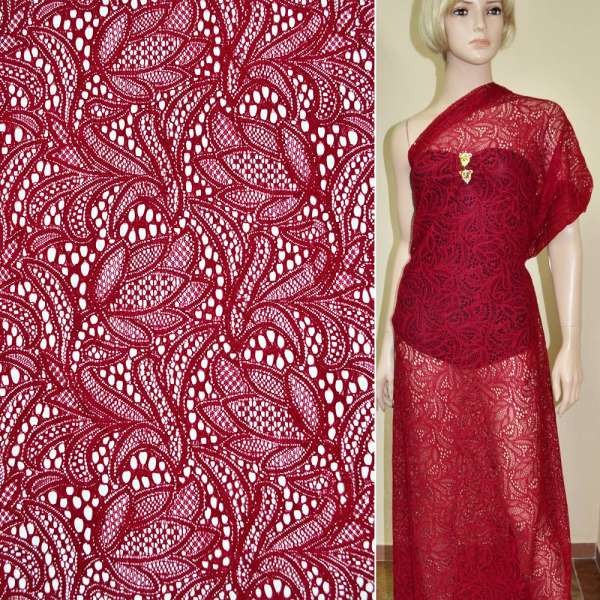 Кружевное полотно стрейч красное цветы ш.156 оптом