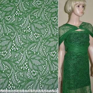 Кружевное полотно стрейч зеленое цветы ш.150 оптом