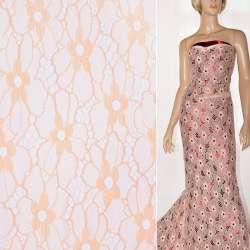 Кружевное полотно стрейч цветы персиковое ш.140