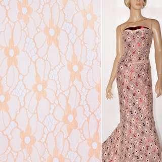 Кружевное полотно стрейч цветы персиковое ш.140 оптом