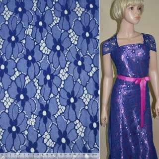 Кружевное полотно стрейчевое цветы синее ш.140 оптом