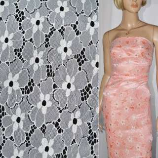 Кружевное полотно стрейчевое цветы белое ш.150 оптом