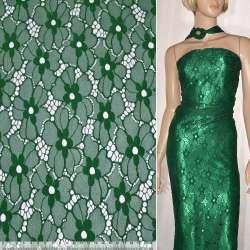 Кружевное полотно стрейч цветы зеленое ш.146