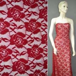 Гипюр стрейч красный с розами и золотым люрексом ш.150