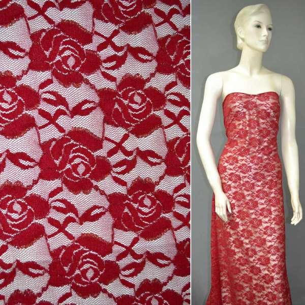 Гипюр стрейч красный с розами и золотым люрексом ш.150 оптом