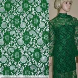 Кружевное полотно стрейч зеленое цветы с кругами ш.150