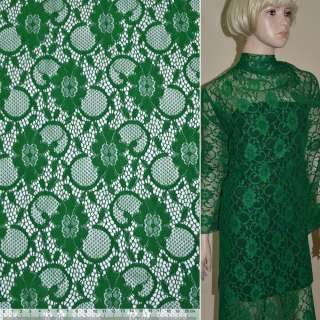 Кружевное полотно стрейч зеленое цветы с кругами ш.150 оптом