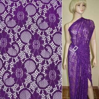 Кружевное полотно стрейчевое фиолетовое цветы с кругами ш.145 оптом