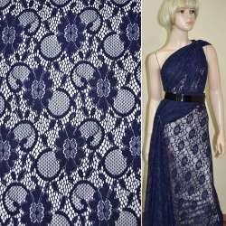 Кружевное полотно стрейч синее темное цветы с кругами ш.156