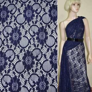 Кружевное полотно стрейчевое темно синее цветы с кругами ш.156 оптом