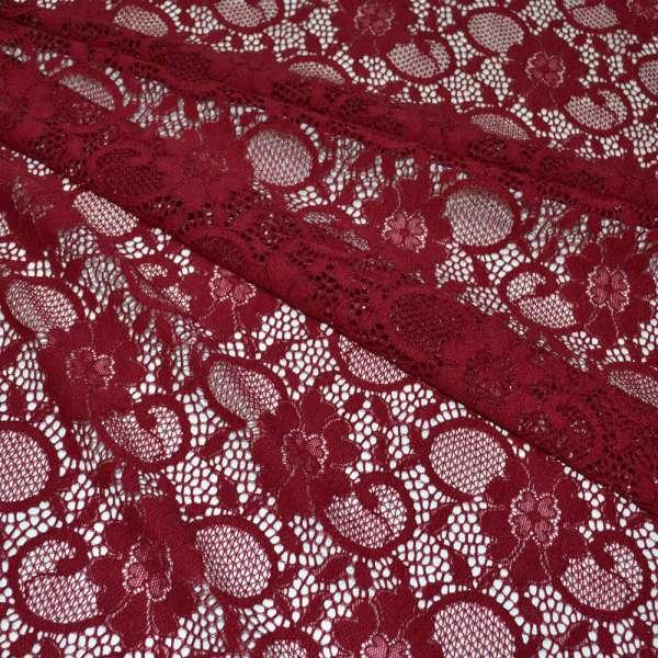 Кружевное полотно стрейч вишневое цветы с кругами ш.156 оптом