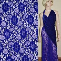Кружевное полотно стрейч синее электрик цветы с кругами ш.150