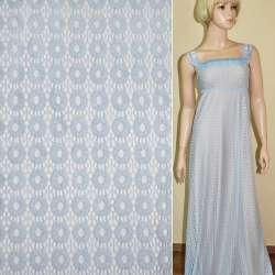 Кружевное полотно стрейч кружочки бледно голубое ш.150 оптом