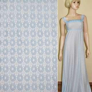Кружевное полотно стрейчевое кружочки бледно голубое ш.150 оптом