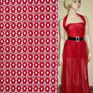 Кружевное полотно стрейчевое кружочки красное ш.150 оптом