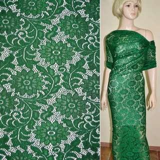Кружевное полотно стрейч зеленое веточка с цветами ш.156 оптом