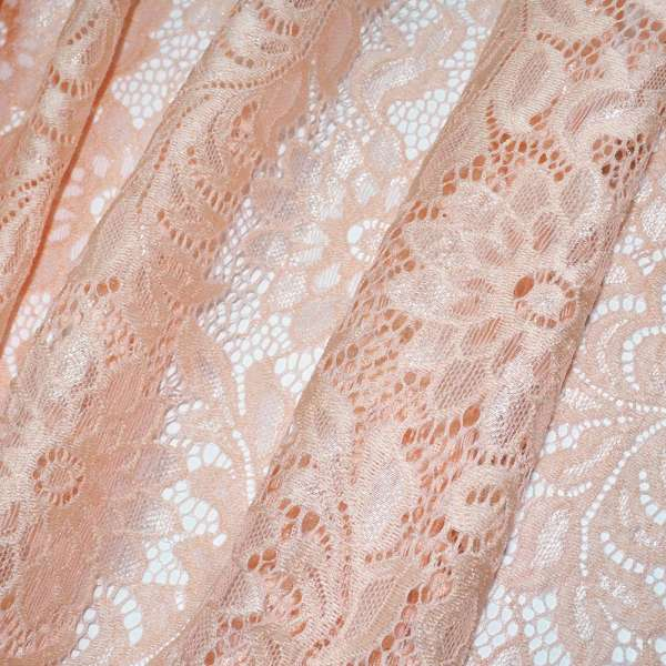 Кружевное полотно стрейч персиковое веточка с цветами ш.152 оптом