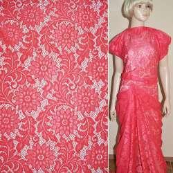 Кружевное полотно стрейч ярко розовое веточка с цветами ш.150 оптом