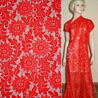 Кружевное полотно стрейч красное веточка с цветами ш.154 оптом