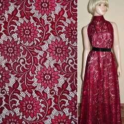 Кружевное полотно стрейч бордовое веточка с цветами ш.150 оптом