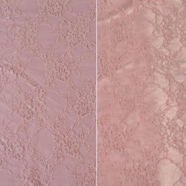 Гипюр серо розовый с цветами ш.150 оптом