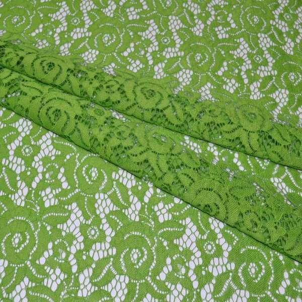 Кружевное полотно стрейч розы зеленое светлое ш.150 оптом