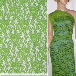 Кружевное полотно стрейч розы зеленое светлое ш.150