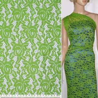 Кружевное полотно стрейчевое розы светло зеленое ш.150 оптом